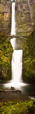 Photograph of a full top to bottom view of Multnomah Falls in Oregon. photo