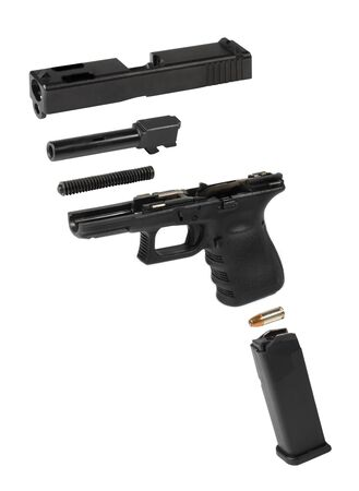semi automatic: Exploded view of an automatic pistol over a white background.