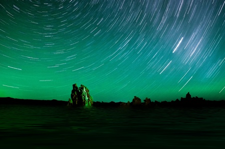 One hour sections of light and star trails over Mono Lake tufas. Stock Photo - 12539065