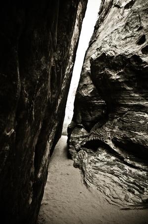 crevasse: Passage between rocks in the Red Rocks Wilderness area of Nevada.