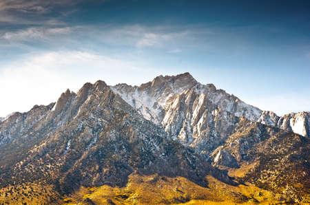 sierras: Snow capped mountain peak in the Eastern Sierras of California.