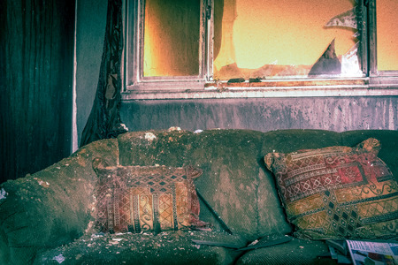 single family: Fire and smoke damaged furniture in a single family home.