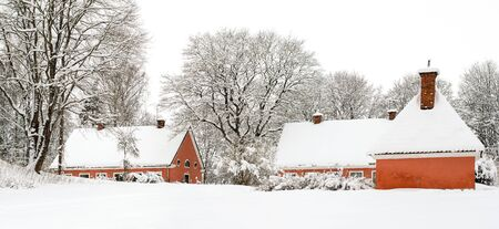 This beautiful traditional style Swedish villa is ready for Christmas. Stock fotó