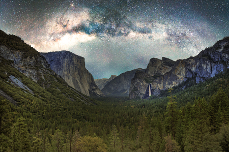 Yosemite Valley as seen from the main overlook at night with the Milky Way.