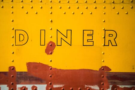 Abstract image of the side of a vintage diner wagon. 版權商用圖片