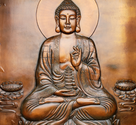 Images of the holy Buddha adorning garden scenery.