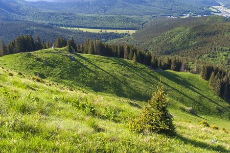 Awesome mountain landscape located on the Red Mountain, Romania. Foto de archivo