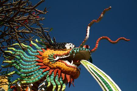 Mosaic Sculpture of Dragon at See Shang Island, Thailand photo