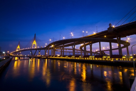 bangkok night: King Bhumibol Bridge