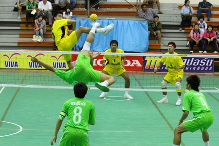 Sepak Takraw in Chonburi game Game competition among provinces in Thailand on December 16, 2010 in Chonburi Thailand.