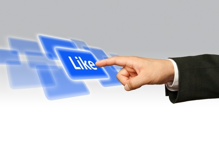 Ecological concept, finger of businessman pressing like blue button.  Stock Photo