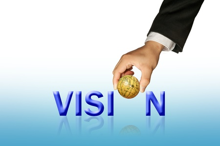 Hand and word Vision Stock Photo