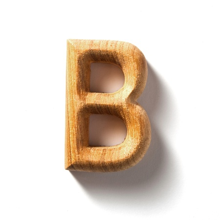 Wooden alphabet letter with drop shadow on white background, B