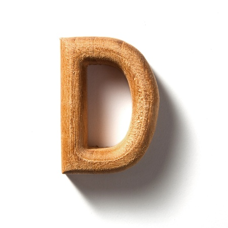 Wooden alphabet letter with drop shadow on white background, D