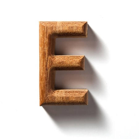 Wooden alphabet letter with drop shadow on white background, E