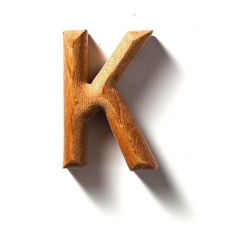 Wooden alphabet letter with drop shadow on white background, K Stock Photo - 10036599