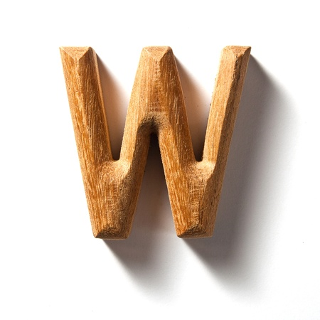 Wooden alphabet letter with drop shadow on white background, W