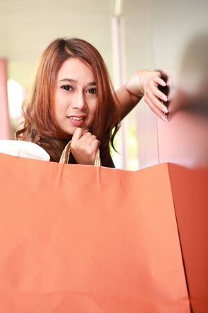 Happiness woman enjoyed her shopping  photo