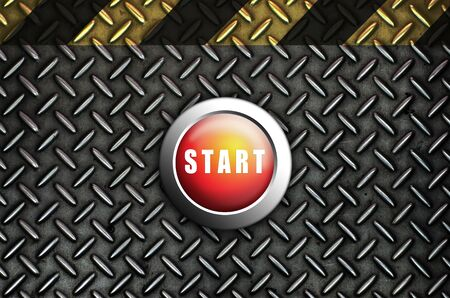 Button start red push press on texture steel Plate Stock Photo - 10905751