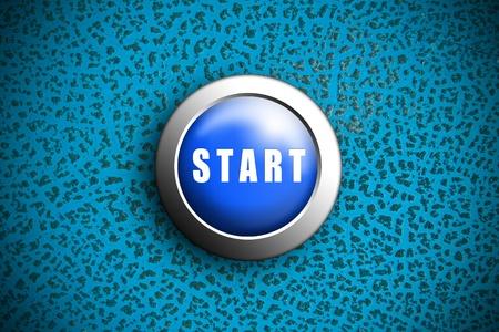 Button start blue push press on texture crack Painting Stock Photo - 10905744