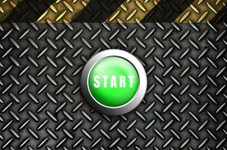 Button start green push press on texture steel Plate Stock Photo - 10905749