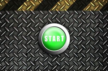 Button start green push press on texture steel Plate Stock Photo - 10905749