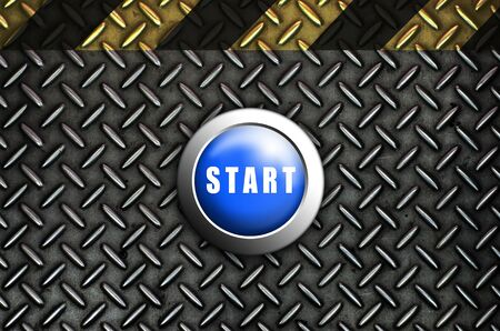 Button start blue push press on texture steel Plate Stock Photo - 10905750