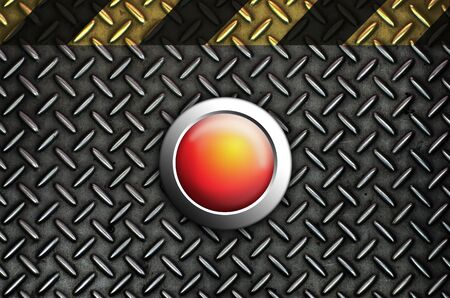 Button start red push press on texture steel Plate  Stock Photo - 10905748