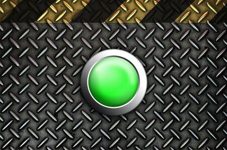 Button start green push press on texture steel Plate Stock Photo - 10905747