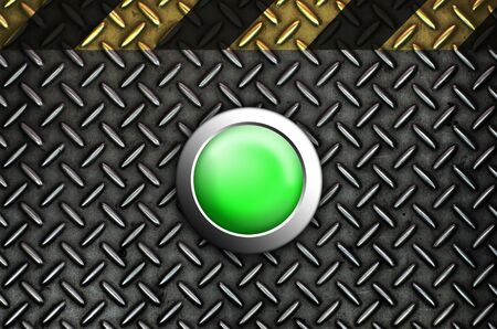 Button start green push press on texture steel Plate Stock Photo - 10905747
