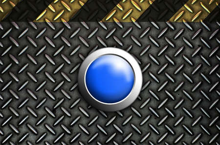 Button start blue push press on texture steel Plate Stock Photo - 10905746