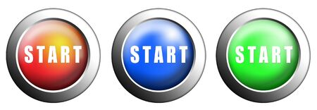 Three buttons start red, blue and green push press on white isolated Stock Photo - 10905743