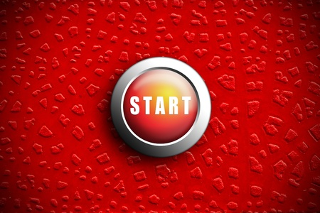 Button start red push press on texture crack Painting  photo