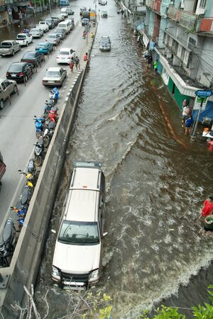 Bangkok Thailand : October 28 - Flooding crisis in Thailand. Thai people escape from flooding all around of Thailand.