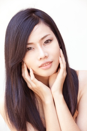 korean fashion: A portrait of beautiful Asian girl Stock Photo