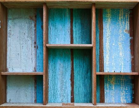 Vintage wooden shelf  Stock Photo