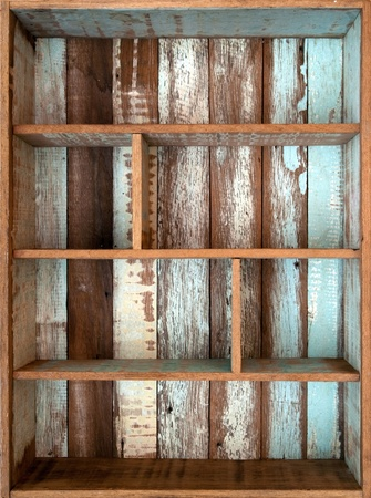 Vintage wooden shelf  Stock Photo