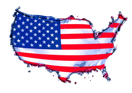 Blue water splash in concept USA map mixed with flag isolated on white background  photo