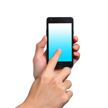 Businessman send massage on mobile phone
