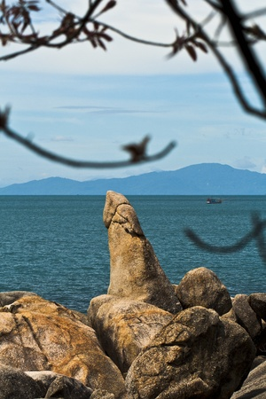 attraktion: Bizarre Grandfather Rock  Hin Ta Hin Yai , the famous landmark on Samui island, Thailand
