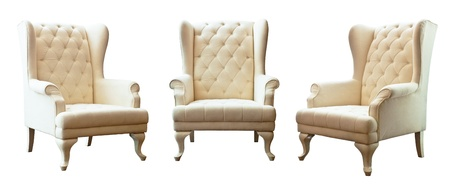 The Three of white luxury armchair isolated on white background  Stock Photo
