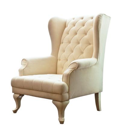 De witte luxe fauteuil op een witte achtergrond