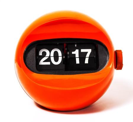 Creativity concept of calendar 2017 from vintage clock Stock Photo