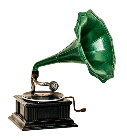 Vintage gramophone record player photo