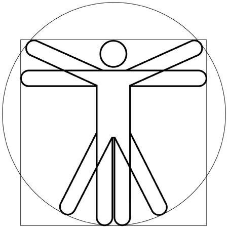 vitruvian man: El hombre de Vitruvio como Leonardo Da Vinchi Vectores