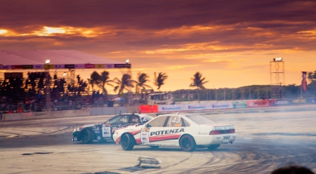 NONTHABURI THAILAND-JUNE 30 : Wide angle view of drifting track with beautiful twiligt sky as background in D1 Grand Prix Series Thailand Professional Drift on June 30, 2013 in Nonthaburi, Thailand. Editorial