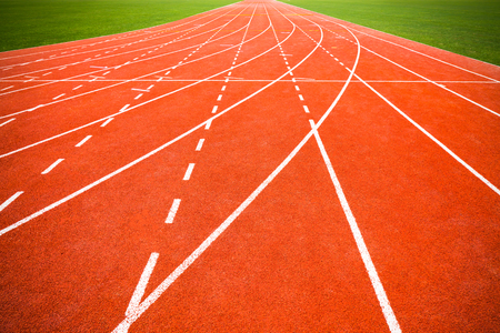 racetrack: Perspective of running track. Stock Photo