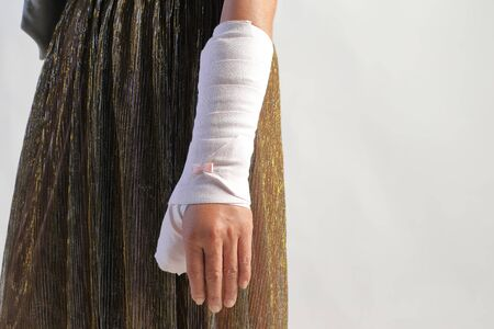 Close-up image of arm splint for treatment of injuries from ankle sprain.