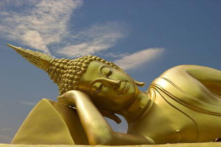 reclining: The reclining Buddha in the sky. Stock Photo