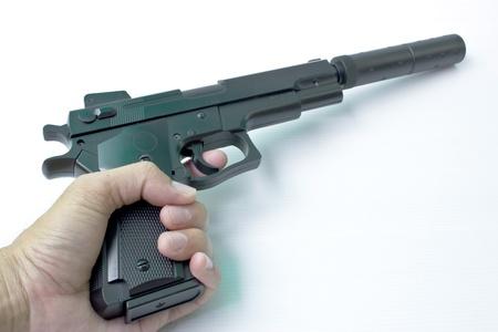 Short-hand pistol  On a white background Stock Photo - 12685275